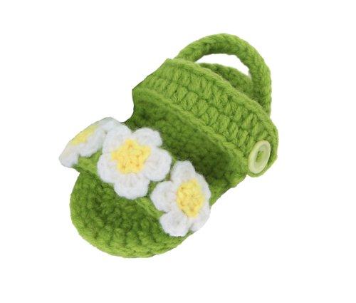 Yue Lian Baby Unisex Schuhe mit Drei Blumen Handgemachte Rutschfeste Strickschuhe Lauflernschuhe Grasig