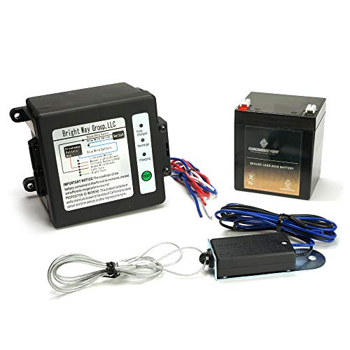 12v Brake - CB CHROMEBATTERY Breakaway Kit (Side-Load) for Trailer with Charger, Switch and 12 Volt 5 Amp Hour SLA Battery with LCD Screen
