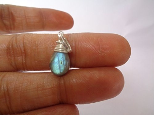 8x12mm Teardrop Blue Labradorite Wire Wrapped Handmade Pendant, Healing Gemstone Pendant