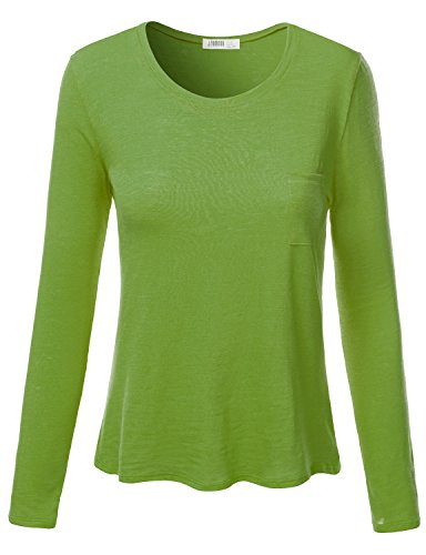 Dye Burnout Tee (J.TOMSON Women's Basic Long Sleeve Round Neck Pleated Top with Chest Pocket LIME 3XL)