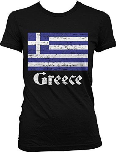 fan products of Hoodteez Flag Of Greece, Greek Flag, Hellas Pride Juniors T-Shirt, XL Black