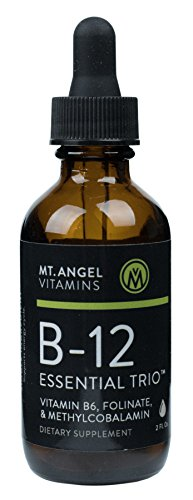 Mt. Angel Vitamins - B-12 Essential Trio, Folinate, Methylcobalmin & B-6, Supports Energy Cycle, Natural Blueberry Flavor (2 Ounces)