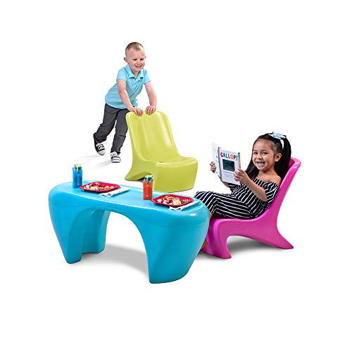 Step2 Junior Chic 3-Piece Furniture Set | Kids Plastic Play Table & Chair Set | Colorful Sleek Modern Design