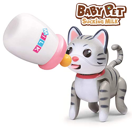 Frudaca Interactive Baby Pet Toy - Kids Pretend Play Collectible Induction Little Animals Toys Baby Electronics Learning Toy Figure (Cat-B)