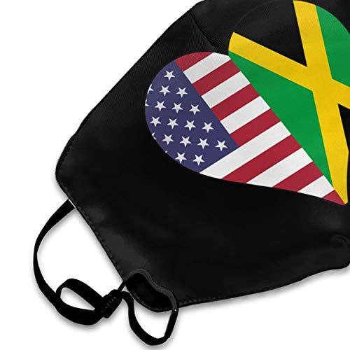 Half Jamaica Flag Half USA Flag Love Heart Mouth Mask,Anti Dust Face Mask,Washable Reusable Mouth Cover Masks White