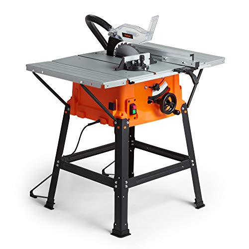 VonHaus Table Saw - Circular Saw Function 1800W 10' (250mm) with 5500rpm Underframe - High Spec with Attachable Table Sides - Make Longitudinal & Angle Cuts with Carbide-Tipped Saw Blade Fixable