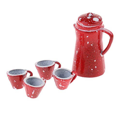Brosco 5 Set of Porcelain Coffee Tea Set for 1/12 Dollhouse Miniature Tableware Red ()
