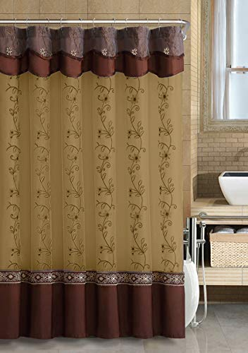 GoodGram VCNY Luxurious Daphne Embroidered Sheer & Taffeta Fabric Shower Curtains by Assorted Colors (Chocolate) (Curtain Shower Brown)