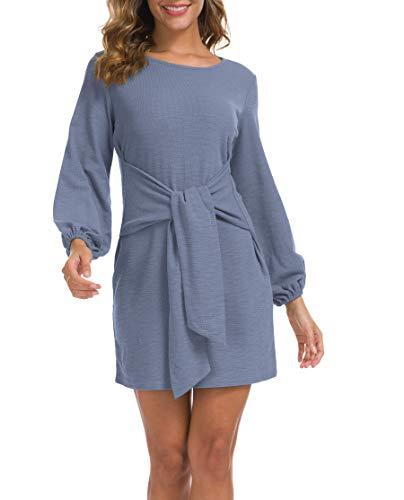 Lionstill Women's Elegant Long Sleeve Dress Casual Tie Waist Sweater Dresses Light Blue Small