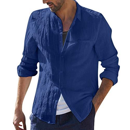 MIS1950s Mens Long Sleeve Shirts Linen Cotton Button Down Fishing Tees Baggy Spread Collar Plain Retro Summer Shirts