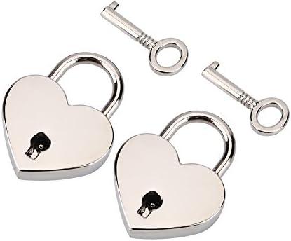 2 Stück kleine herzförmige Vorhängeschloss mit Schlüssel, Mini-Schloss für Gepäck Tagebuch Buch Schmuckschatulle, Silber