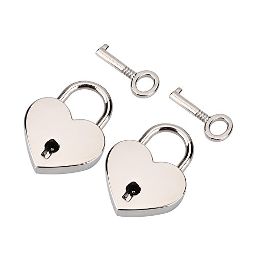 Padlock with Key 2Pack,Heart-Shaped Skeleton Key Lock Set,Zinc Metal Lock for Luggage Diary Book Jewelry Box(Silver)