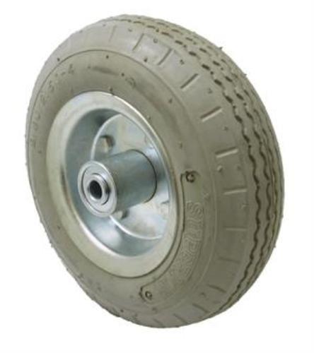 8'' Grey Pneumatic Air Filled Wheel, 3/4'' Ball Bearing, 3-3/16'' Hub