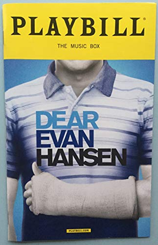Ben Platt Brand New Color Playbill from Dear Evan Hansen at the Music Box Theatre starring Ben Platt Laura Dreyfuss Rachel Bay Jones Michael Park Jennifer Laura Thompson Mike Faist Kristolyn Lloyd Will Roland Music and Lyrics by Benj Pasek and Justin Paul Book by Steven Levenson