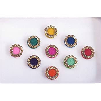 Plain round colorful 7 mm bindis gold rhinestones on outline indian bindis bindi sticker