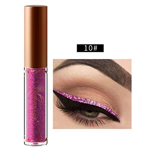 Beauty Metallic Shiny Smoky Eyeshadow, Waterproof Glitter Liquid Eyeliner (J)