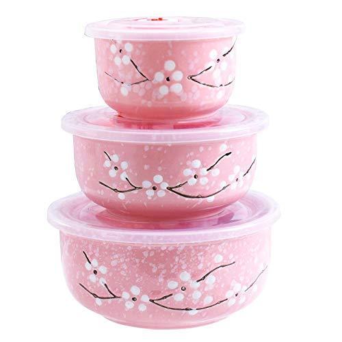 Food Storage Containers with Lids, Pink Ceramics Bowls Set with Lids - Japanese Microwave Nesting Mixing Bowls Set Serving Soup Salad Snack Noodle Friut(3 Piece Set)