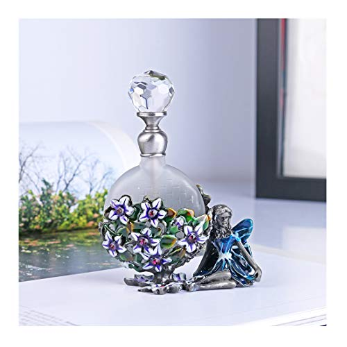 YUFENG Pewter Angel Figurine Perfume Bottle Heart Shaped Jewelry Frosted Mini Scented Fragrance Container