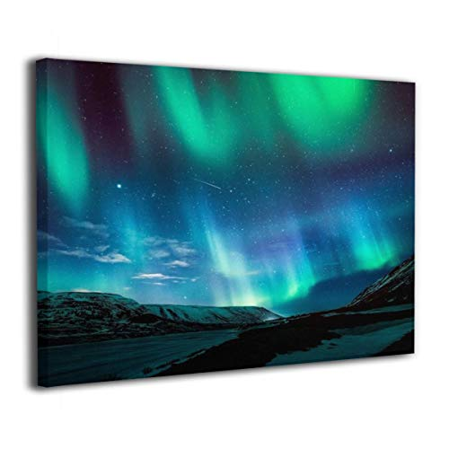 Henry Huxley Wall Art Decor Painting On Canvas Print, Iridescent Aurora Stretched and Frameless,for Kitchen Living Room Bedroom Decoration Home Office Wall Posters 16x20 Inch -