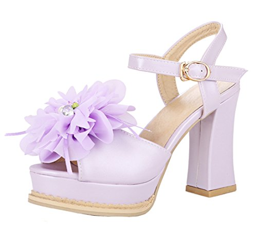 YE Women High Heels Sandals Platform Pumps with Flowers Purple Lf96N
