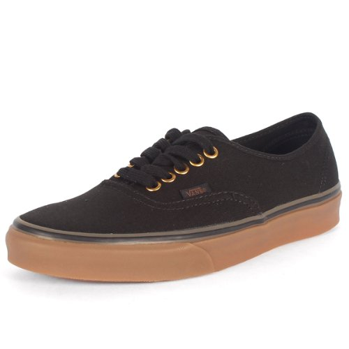 Vans Unisex Authentic Black/Rubber Skate Shoe 10.5 Men US / 12 Women - Vans Shoes Men Canvas