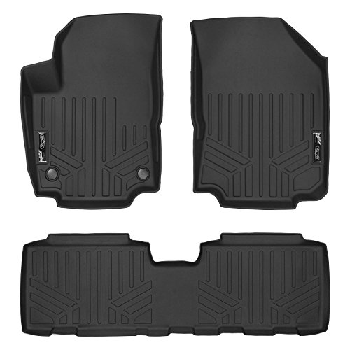 SMARTLINER Floor Mats 2 Row Liner Set Black for 2018 Chevrolet Equinox