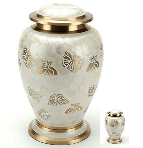 Golden Urn - MEMORIALS 4U Golden Butterfly Cremation Urn Set for Human Ashes - Handcrafted Pearl Butterflies Adult Funeral Urn - Affordable Urn for Ashes - Large Urn Deal - Free Keepsake