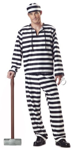 Jail Jumpsuit - California Costumes Men's Jailbird Costume, White/Black Stripe, X-Large