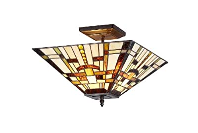 Chloe Lighting Chloe Lighting Farley 2-Light Tiffany Style Mission Semi Flush Ceiling Fixture with 14 in. Shade