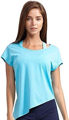 RunJuWuYe Camiseta Deportiva de Malla Mujer Camisetas de Yoga de Manga Corta Camisetas Deportivas Sueltas Camiseta de Fitness Camisas de Secado rápido para Mujer: Amazon.es: Deportes y aire libre