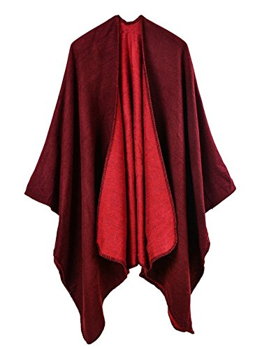 Hycurey Women Winter Knitted Faux Cashmere Poncho Capes Plus Size Shawl Cardigans Sweater Coat Winered Free by Hycurey (Image #1)'