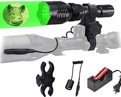 300yard Red Green White LED Flashlight Hog Fox Weapon Spotlight Scope Rail Mount