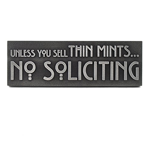 Atlas Signs and Plaques Thin Mints No Soliciting Sign 12x4 - Made in USA - Raised Stainless Steel Metal Coated ()