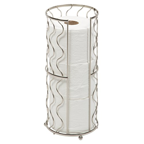 Toilet Paper Storage Reserve - Free Standing - Modern Bathroom Space Saver - Holds 3 Standard Rolls – Satin Nickel -Richards Homewares by Richards Homewares