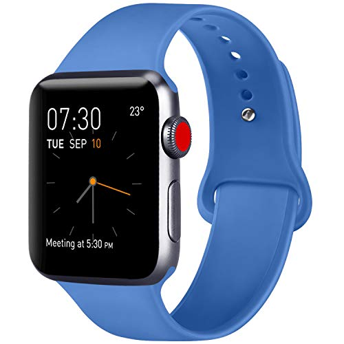 (ATUP Compatible with for Apple Watch Replacement Band 38mm 40mm 42mm 44mm Women Men, Soft Silicone Band Compatible with for iWatch Series 4, 3, 2, 1 (Royal Blue, 42mm/44mm-M/L))