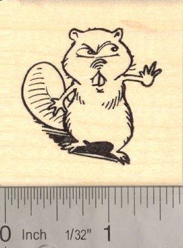 Angry Beaver Rubber Stamp Mascot