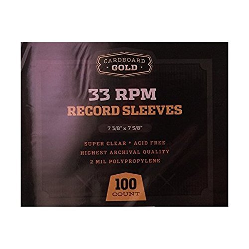 Cardboard Gold 100 CBG 33 RPM 12'' LP Record Album Sleeves - Archival Quality Protection for Your Records