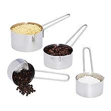 Relaxdays Set de Cuatro jarras, Acero Inoxidable, Vaso medidor con Mango, para lavavajillas, Grande, Escala, P Juego de Tazas, plata