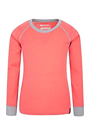 Mountain Warehouse Merino Kids Round Neck Thermal Baselayer Top – Full Sleeves, Light, Breathable, Quick Dry Childrens T-Shirt - For Camping in Cold Weather Coral 5-6