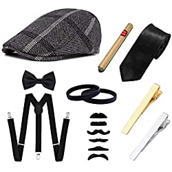 Ziyoot Men's 1920s Accessories Gatsby Gangster Costume Set Gangster Beret Y-Back Suspender (A 04 Black Gray)
