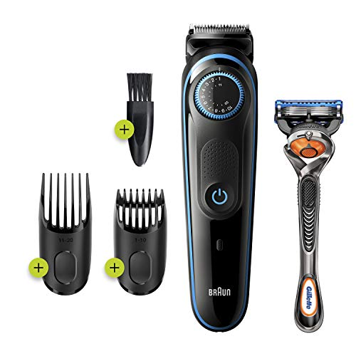 Braun Beard Trimmer BT5240, Beard Trimmer for Men and Hair Clipper, 39 Length Settings, Black/Blue