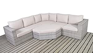 West Country ratán jardín ángulo esquina sofá consta de dos modular dos plazas sofás, ángulo esquina sofá y una mesa de café al aire libre muebles de jardín