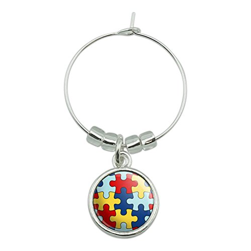 Autism Awareness Diversity Puzzle Pieces Wine Glass Charm Drink Marker ()