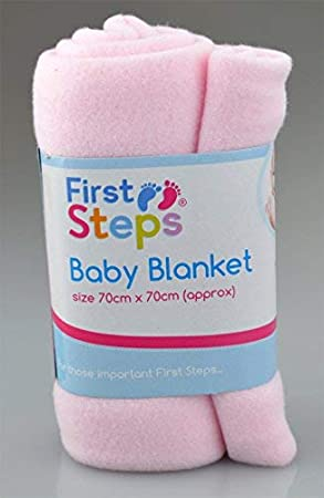 First Steps Pack of 3 Fleece Baby Blankets for Pram, Crib, Moses Basket or Bed 70x70cm
