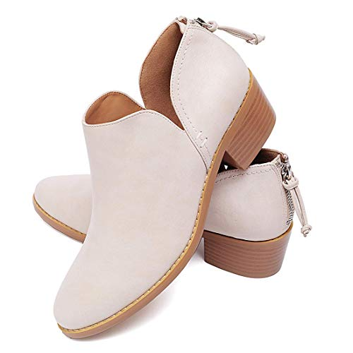 Susanny Ankle Boots for Women Zipper Work Booties Chunky Low Heels Slip on Shoes Beige 10 B (M) US