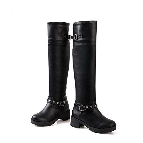 AgooLar Damen Mittler Absatz Hoch-Spitze Rein Ziehen auf Stiefel mit Rivet Set Schwarz