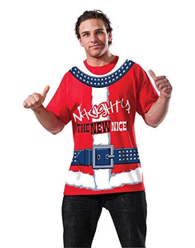 Rubie's Men's Clausplay Naughty Is The New Nice T-Shirt, Red/White, Medium ()
