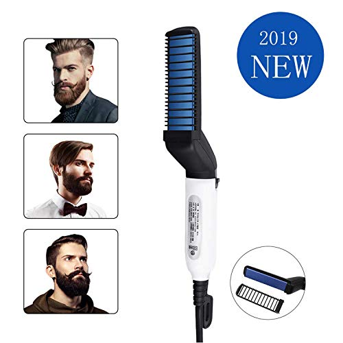 Electric Comb for Men, Hair and Beard Straightening Styler Brush with Side Hair Detangling,Hair Straightening,Curly Hair Straightening Comb, Hair Straightening Comb for Men Hair Styling