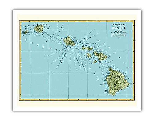 1898 Fine Art - Pacifica Island Art Rand McNally Atlas Map of Hawaii - Vintage Hawaiian Colored Cartographic Map c.1898 - Fine Art Print - 11in x 14in