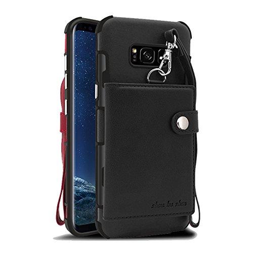 Funda Samsung Galaxy S8 Carcasa, Sunroyal 2 en 1 Magnética Cremallera Wallet Luxury Vintage Suave [Función de soporte] [Shock-Absorption] Soporte del Inteligente Coche Ranuras para Tarjetas y Billetes negro